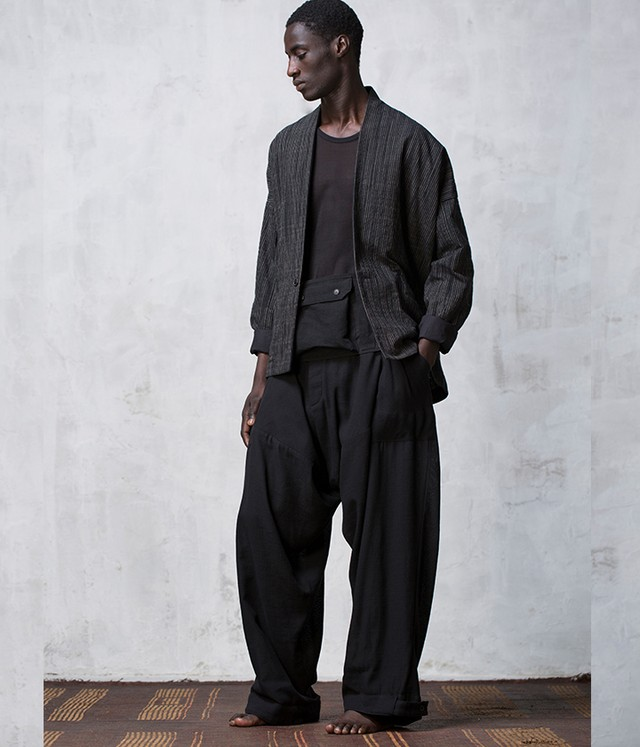 JAN JAN VAN ESSCHE - Baggy Trousers out of one pattern piece with adjustable Hem LIGHT BUFF COTTON - TROUSERS#51