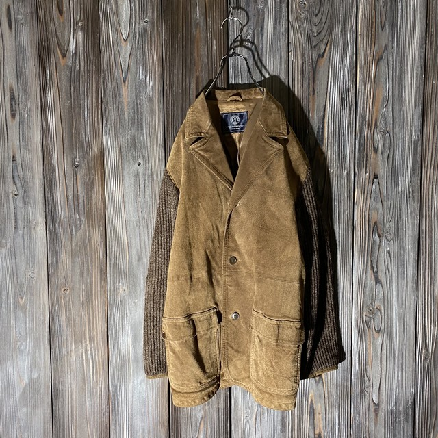 [used]leather and knit switch design  jacket