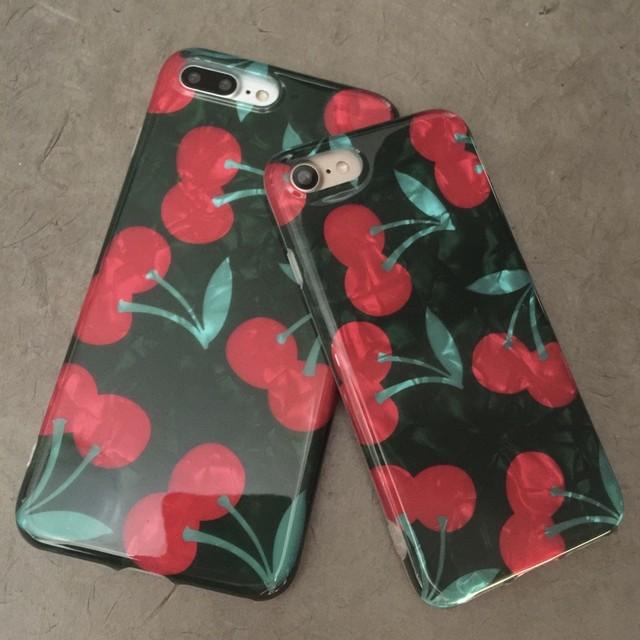 【iphone7/8/X/XS/XSMAXカバー】大人チェリーiphoneケース さくらんぼ