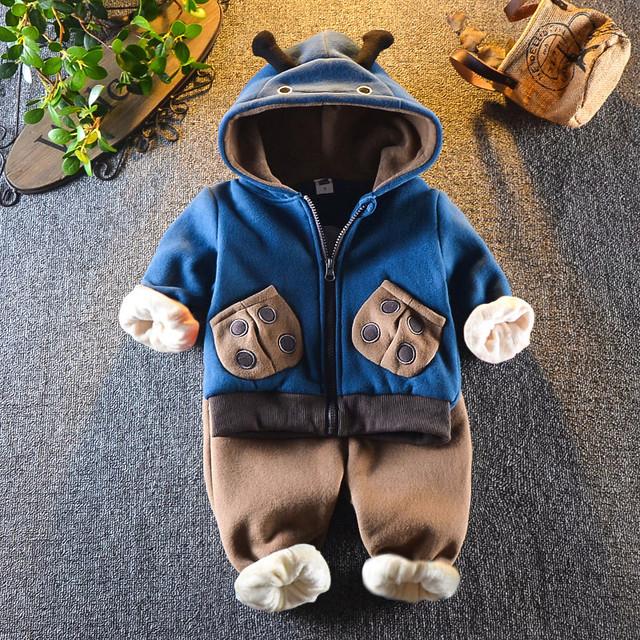 【セット】おすすめあったか防寒カートゥーンフード付きジッパー子供服ボーイズガールズ二点セット25285551