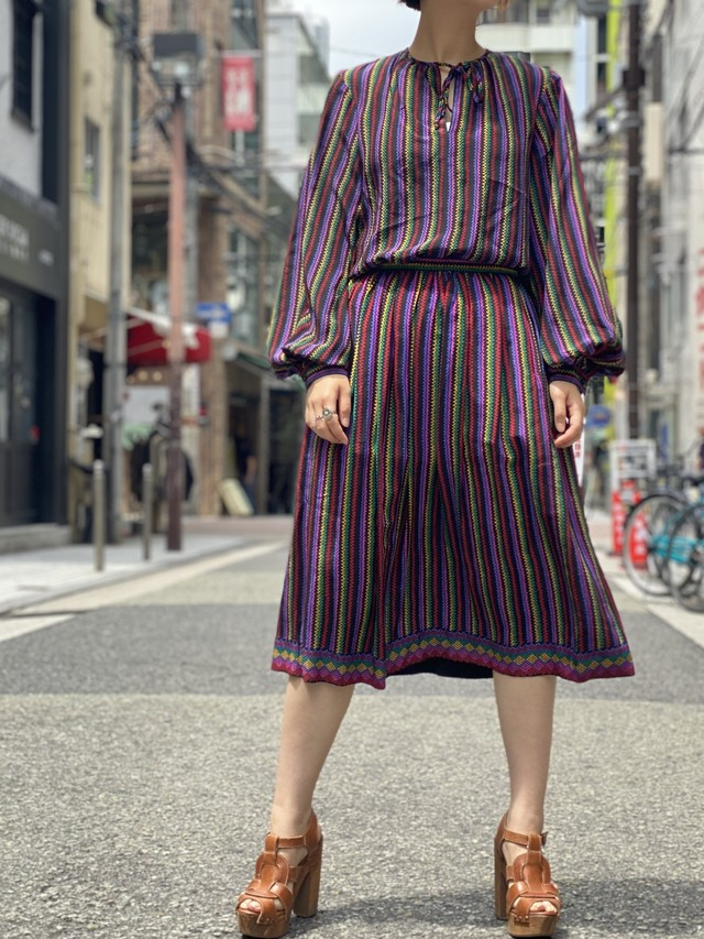 stripe tops × skirt 2piece set up [1065]