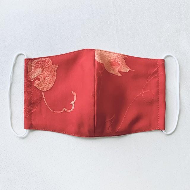 絹マスク 葉模様 赤