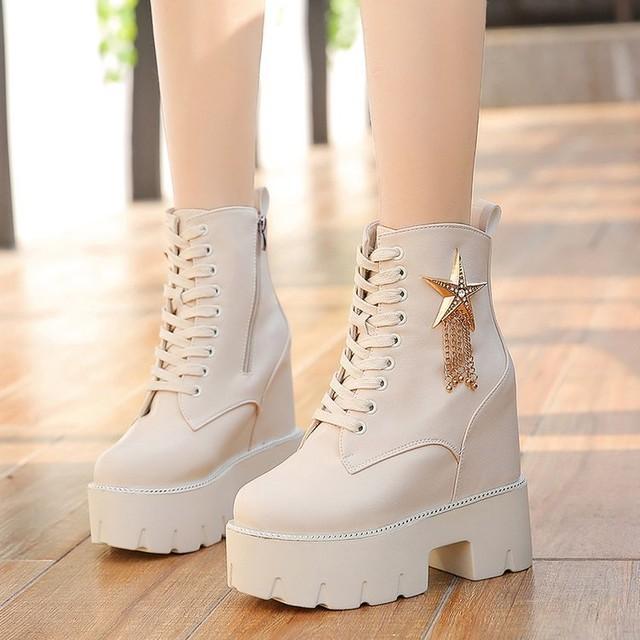 【shoes】PU合わせやすいファスナー飾り個性派シューズ