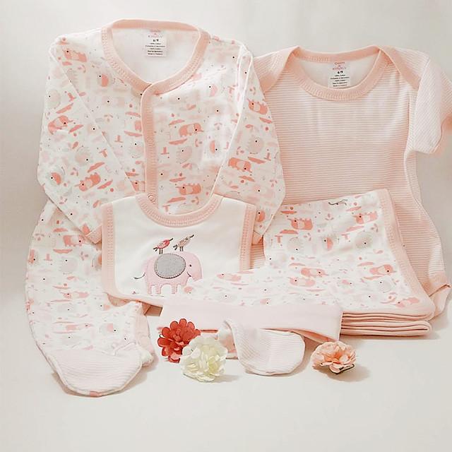 【送料無料】赤ちゃん出産祝いロンパース5点セット 白×ピンクぞう ラッピング可
