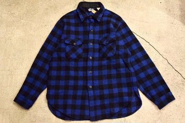 USED USA製 ウールリッチ ウールシャツジャケット L  Woolrich wool shirt Jacket 青黒