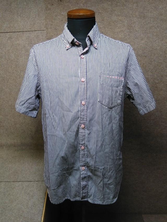 ビームス メンズ ボタンダウンシャツ L ネイビー系 ストライプ y1293a