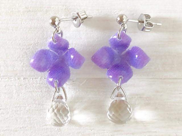20紫陽花と雫のピアス(イヤリング)紫