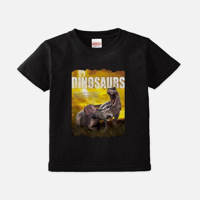 Tシャツ[リアルダイナソー:キッズ]ティラノvsトリケラ黄 ブラック色