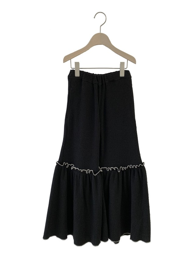 UNIONINI rib knit frill long pants (black) 4-6/6-8/8-10/10-12