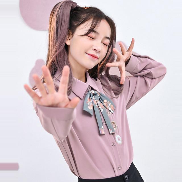 【森女部落シリーズ】★シャツ★ トップス 刺繍 ファション パープルピンク 長袖 スウィート 可愛い
