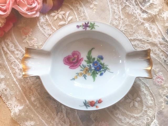 パリ焼き 金彩と花々の灰皿 小物入れ 在庫1