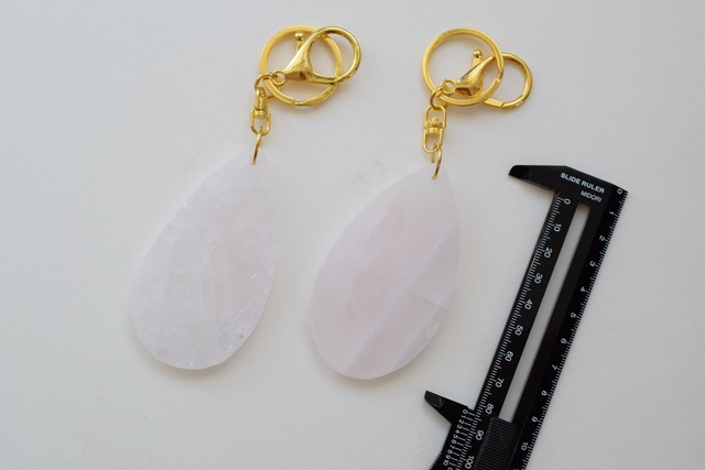 Rose quartz slice key holder
