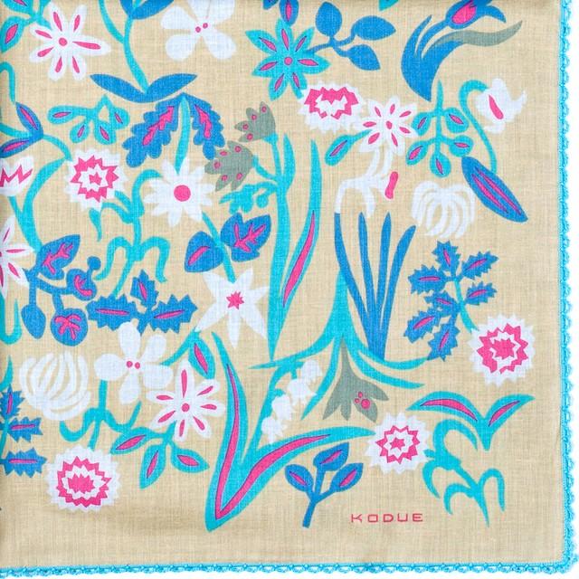 ひびのこづえ ハンカチ 春の花 / ベージュ 2枚合わせ レース付き 48x48cm KH15-02