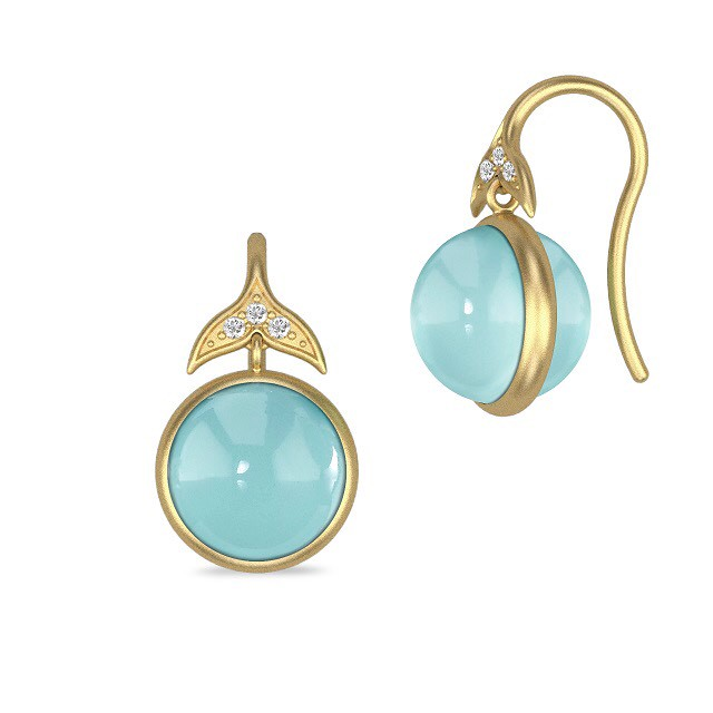 JULIE SANDLAU FAIRYTALE EARRING  SEA BLUE CRYSTAL