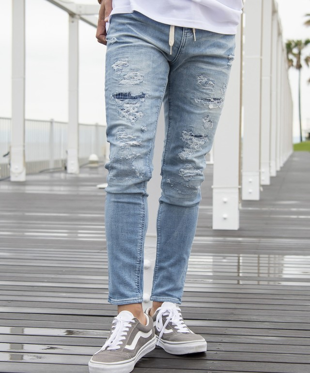 VINTAGE REMAKE JOG DENIM SKINNY PANTS[REP035]