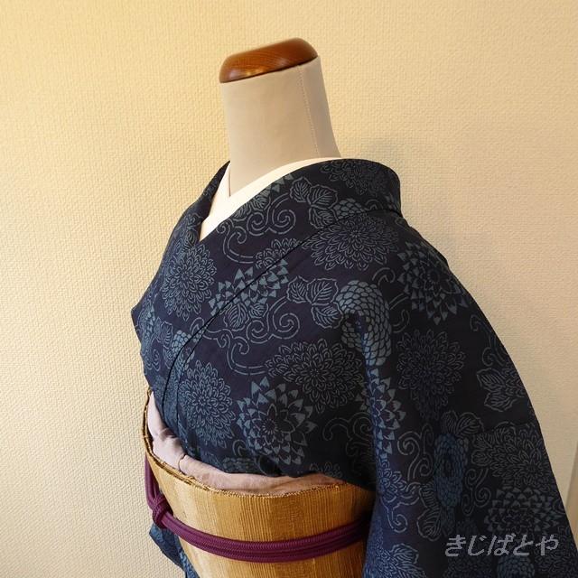 正絹紬藍染 菊づくしの小紋 作家物 袷