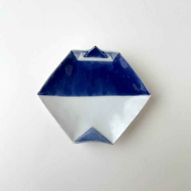 【おてしょ皿】染濃 折紙型手塩皿