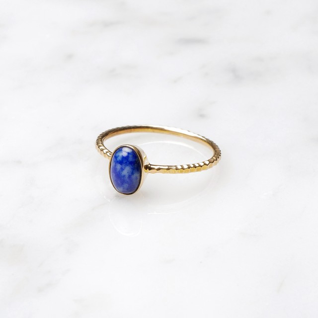 S925 SINGLE PETIT STONE RING LAPIS LAZULI