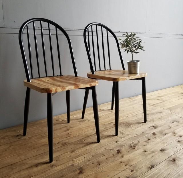 Iron Wood Dining 2 Chairs / アイアンウッド北欧スタイル アイアン木製(杉) ダイニングチェア 2脚セット