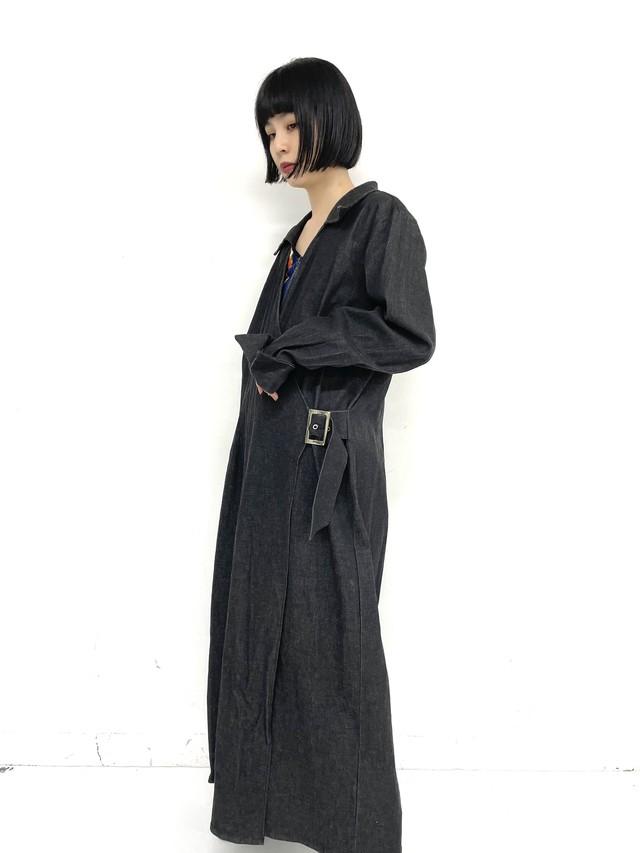 asymmetry design black denim coat / 3SSOU04-17