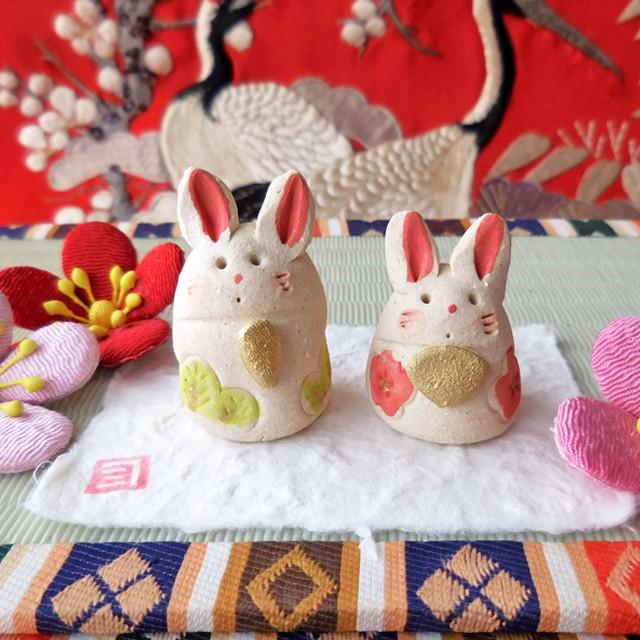 (210) 瀬戸焼 ひろ陶房 兎ミニ雛 うさぎ 雛人形 陶器製 お雛様 ひな祭り 日本製