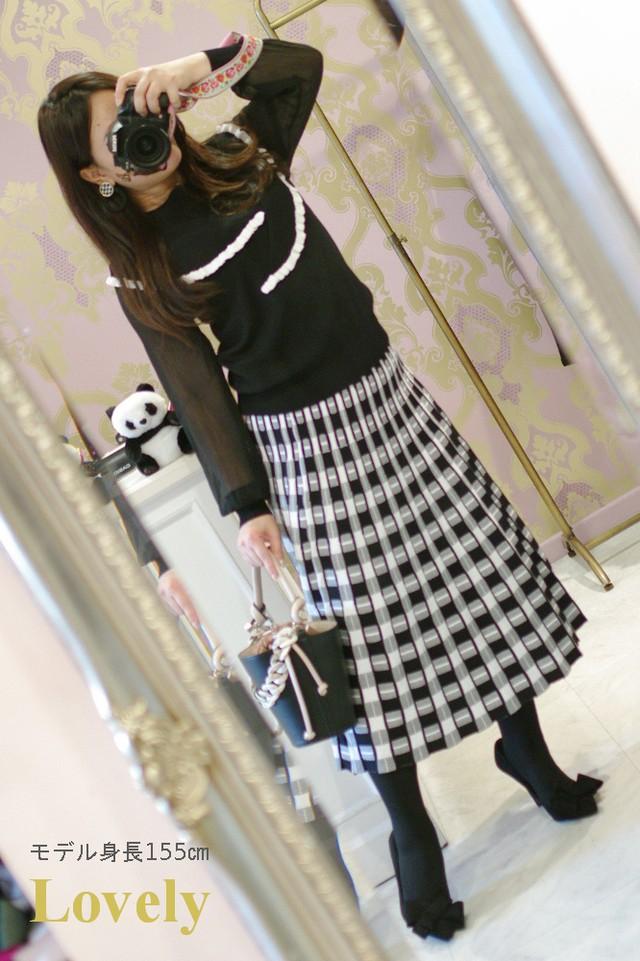 【アパレル・ボトムス】ジオメトリー パターン ニットスカート・ブラック+ホワイト