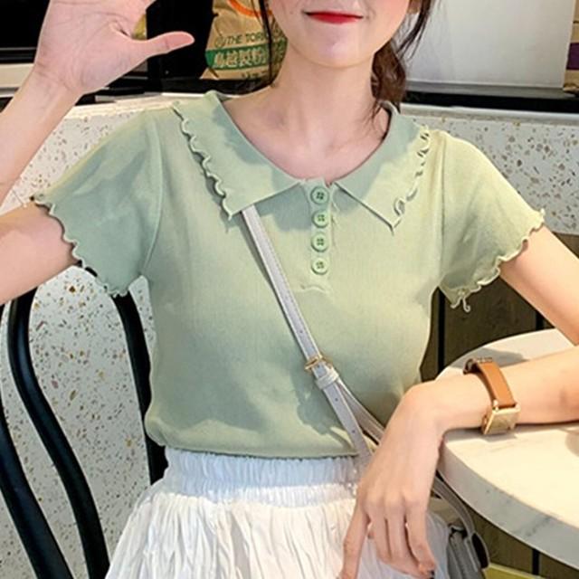 【tops】スウィートボタンPOLOネックシングルブレスト半袖Tシャツ