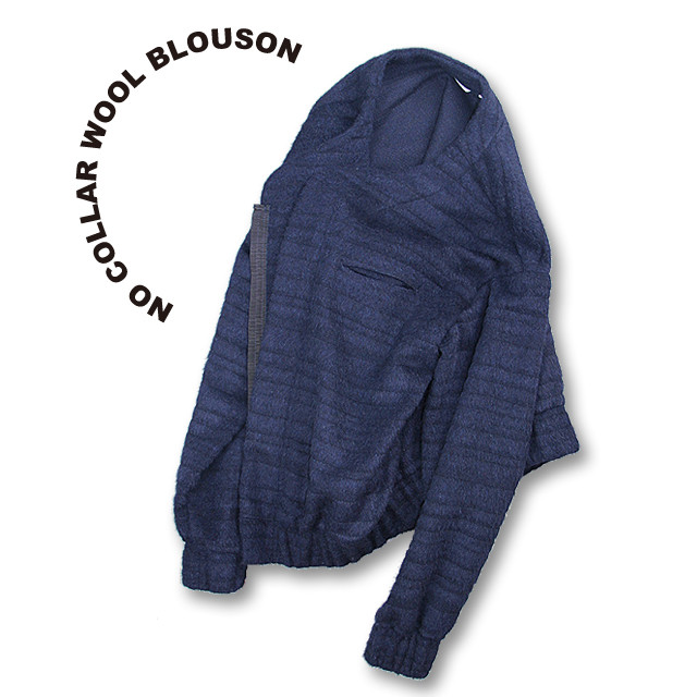 No collar wool blouson [navy]