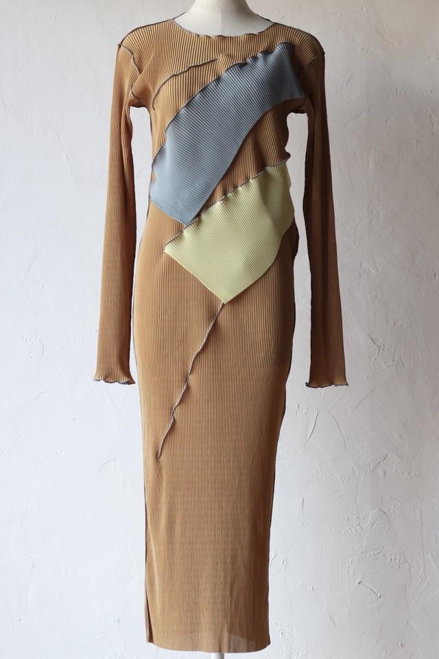 【kotohayokozawa】pleats dress long sleeve-brown