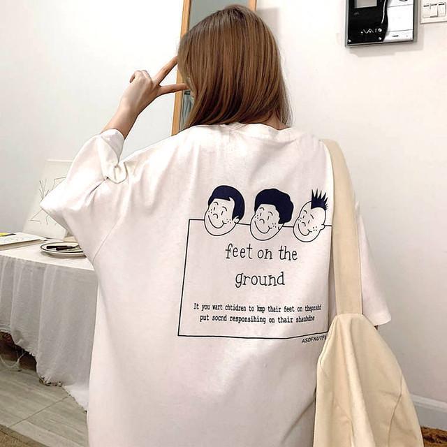 【送料無料】オシャカワTシャツ♡Tシャツ ゆるT ルーズ 楽カワ イラスト カジュアル 着まわし バックプリント