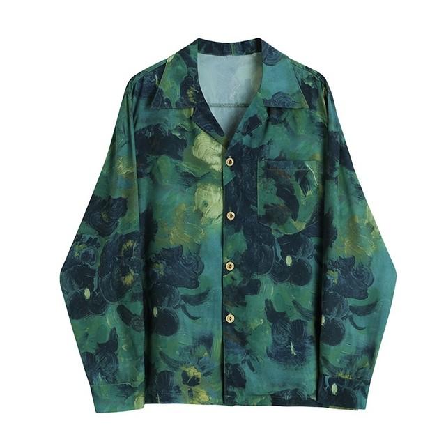 Oil paint green shirt(オイルペイントグリーンシャツ)b-401