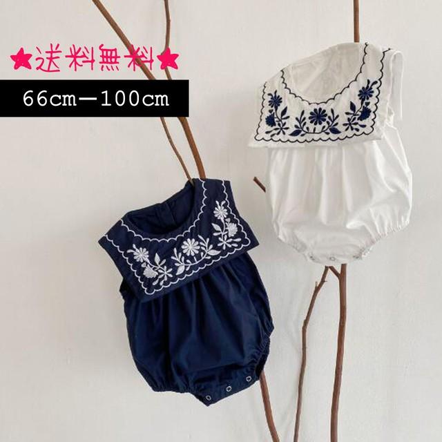 【66㎝-100㎝】可愛い花柄刺繍 ロンパース (309)