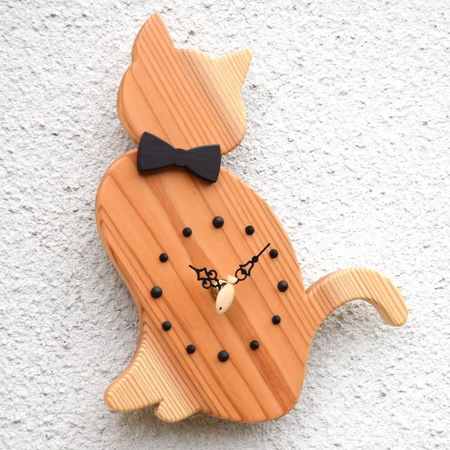 【魚秒針】掛時計『おすましネコ クリア』【智頭杉】