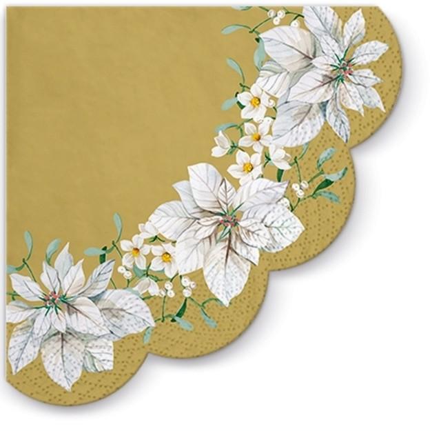 【PAW】バラ売り1枚 ラウンド ペーパーナプキン WHITE POINSETTIA パールゴールド