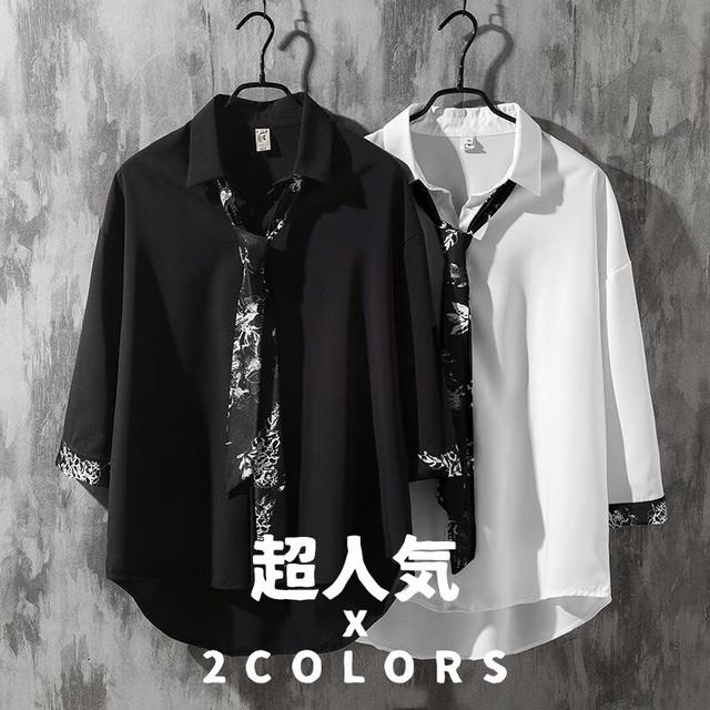 【トップス】「*ユニセック」激売れ中絶対欲しい韓国系七分袖POLOネックネクタイ付きシャツ27379865