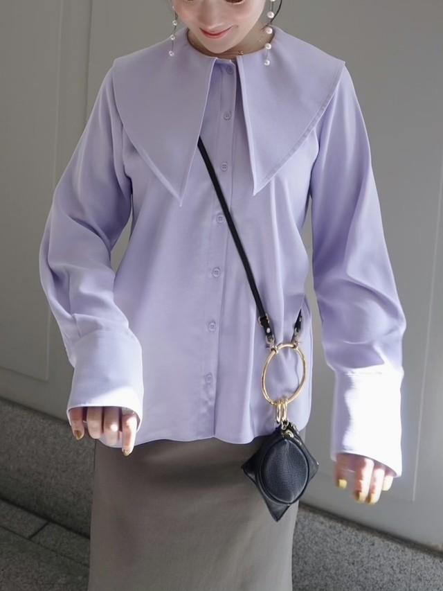 triangle collar blouse / lavender 5/20 21:00 ~ 再販 (即納)