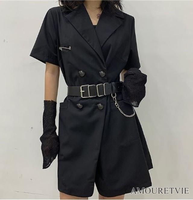 ジャケット カジュアル ベルト付き 半袖 スーツ ストリート スタイリッシュ ダーク 黒 ブラック ピープス 裏原 オルチャン 韓国ファッション 1395