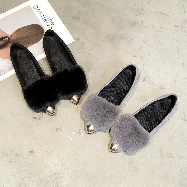 【shoes】寒さ対策ふわふわ感じ暖かいフラットシューズ 23873903