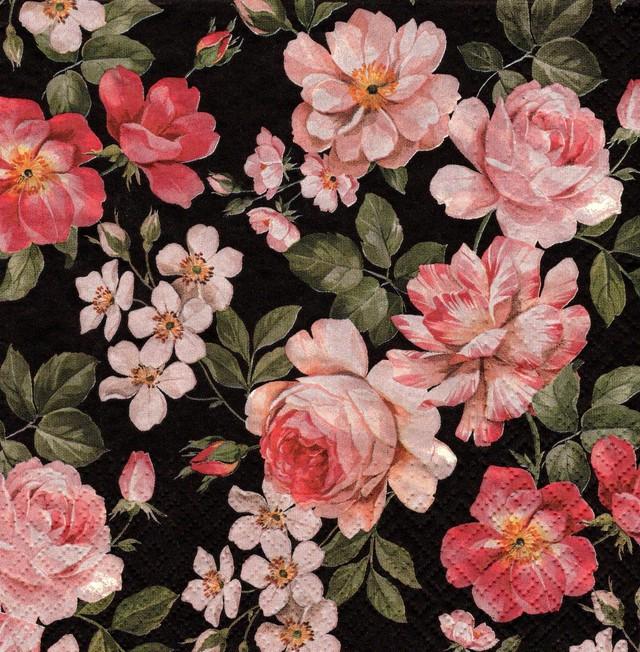2021春夏【PAW】バラ売り2枚 ランチサイズ ペーパーナプキン Roses Glory ブラック