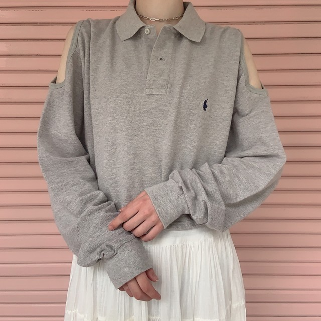 """Ralph Lauren"" remake open shoulder tops -gray-"