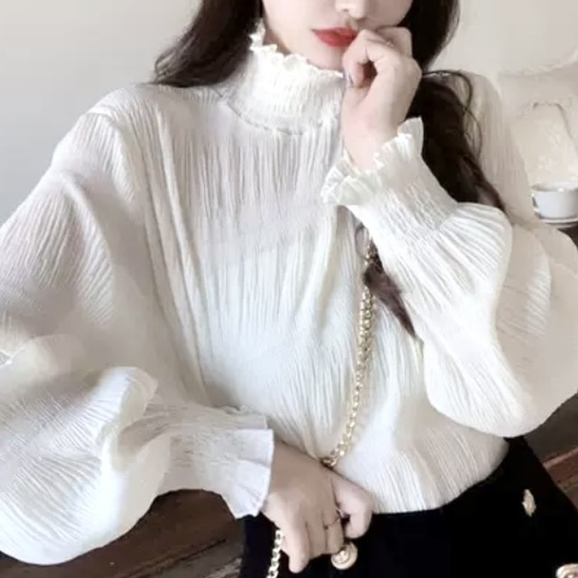 【3/6まで30%OFF!!】ハーフ ハイカラー シフォン シャツ ホワイト ワンカラー B6241