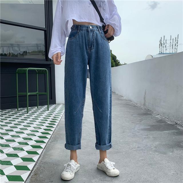 【bottoms】定番ファッションワイドハイウエスト細見え合わせやすいデニムパンツ