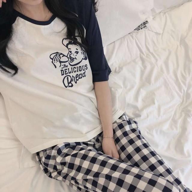 【送料無料】リラックスタイムに ♡ 2点セット ラグラン プリント Tシャツ × ギンガムチェック パンツ ルームウェア パジャマ