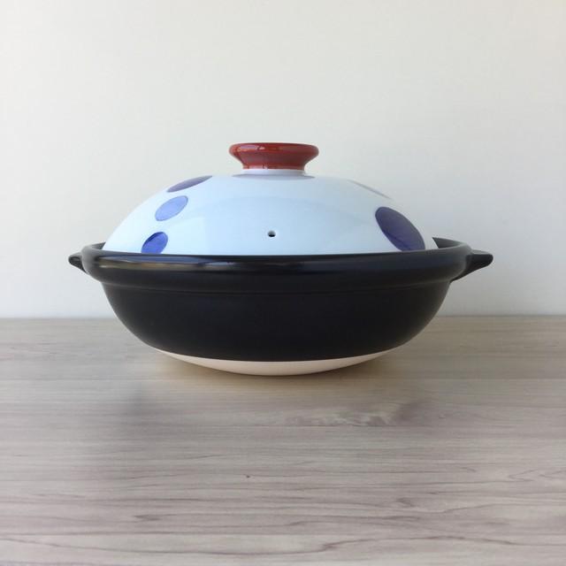 【有田焼】二色水玉 八寸土鍋(直火専用)