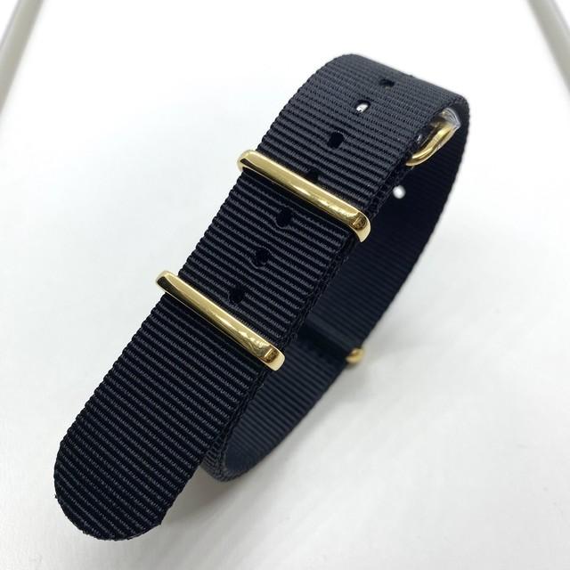 ゴールドプレミアムNATOストラップ ブラック 20mm 腕時計ベルト