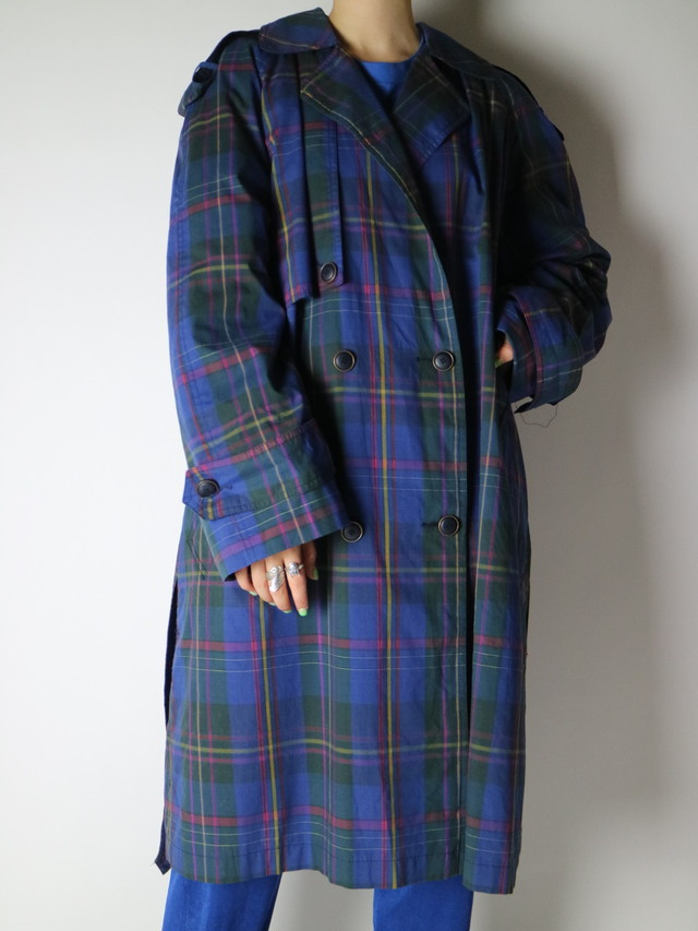 plaid pattern trench coat【0941】