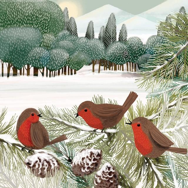 2020秋冬新作【Paperproducts Design】バラ売り2枚 ランチサイズ ペーパーナプキン Meadow Birds グリーン