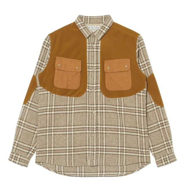 BIG CHECK ELBOW-PACTH SHIRT - BEIGE