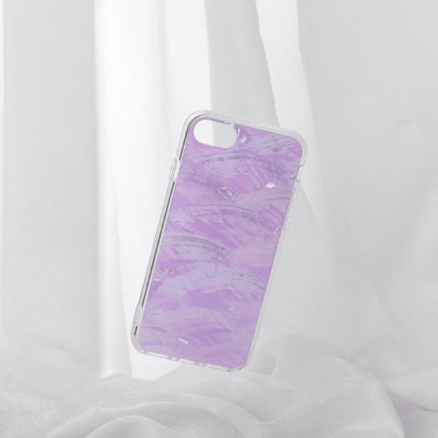 新色【iPhone12シリーズ/SE2対応】本物の自然シェル素材<パステルパープル>カラーデザイン(SPCa0078WT)◆スマホケース/iPhoneケース