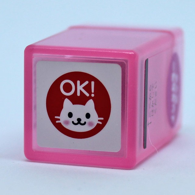 【こどものかお】ミニスタンプ浸透印 猫OK ピンク